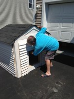 Linda's Catman checking our the soon to be cat houses! He has some good ideas ...