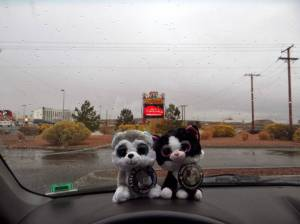 On I 40 Bad weather again - minions contemplate a stop at Rt 66 casino