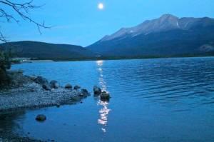 Full moon over Muncho Lake, B.C.