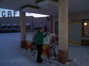 Barbara Hunter & Ambavatar Stan visit the Corner Gas Station
