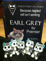 Election sign and earl Grey Minions
