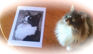 Earl Grey poses with one of the prints of his brother, Tuxedo Stan.