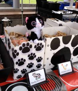 Checking out doggie biscotti at the Yuppie Puppy Cafe