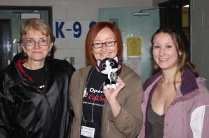 Stan with Wendy and Kristi Mallison-Vogel of Port Colborne Feline Initiative, and myself - Laura Harte, of Niagara Pet Foster Network (Ontario, Canada)