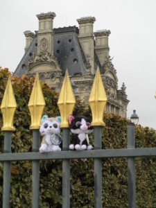 Minions on fence by the Louvre